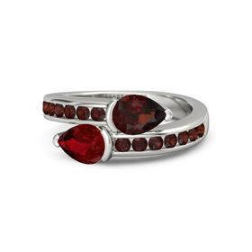 Pear Ruby Platinum Ring with Red Garnet