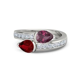 Pear Ruby Platinum Ring with Rhodolite Garnet and Diamond