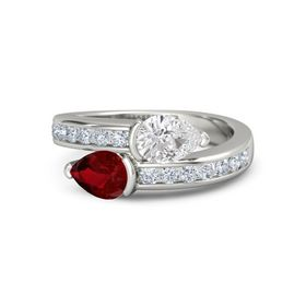 Pear Ruby Platinum Ring with White Sapphire and Diamond