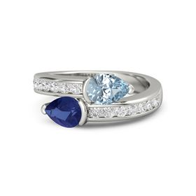Pear Blue Sapphire Platinum Ring with Aquamarine and White Sapphire