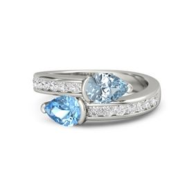 Pear Blue Topaz Platinum Ring with Aquamarine and White Sapphire