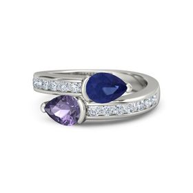 Pear Iolite Platinum Ring with Sapphire & Diamond