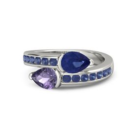Pear Iolite Platinum Ring with Sapphire