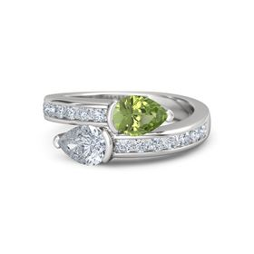 Pear Diamond Sterling Silver Ring with Peridot and Diamond