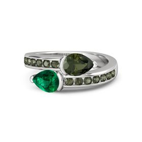 Pear Emerald Sterling Silver Ring with Green Tourmaline