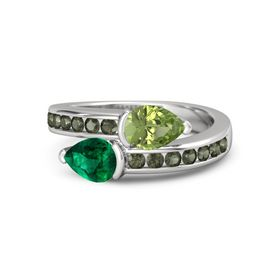 Pear Emerald Sterling Silver Ring with Peridot and Green Tourmaline