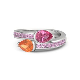 Pear Fire Opal Sterling Silver Ring with Pink Tourmaline