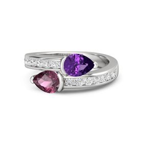 Pear Rhodolite Garnet Sterling Silver Ring with Amethyst and White Sapphire