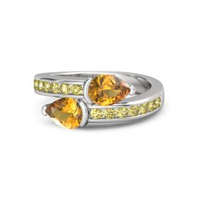 Pear Citrine Sterling Silver Ring with Citrine and Yellow Sapphire