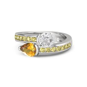 Pear Citrine Sterling Silver Ring with White Sapphire and Yellow Sapphire