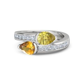 Pear Citrine Sterling Silver Ring with Yellow Sapphire & Diamond