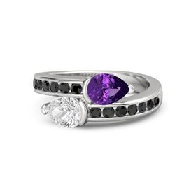 Pear White Sapphire Sterling Silver Ring with Amethyst and Black Diamond