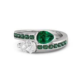 Pear White Sapphire Sterling Silver Ring with Emerald and Alexandrite