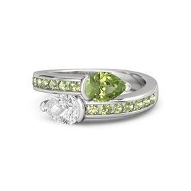 Pear White Sapphire Sterling Silver Ring with Peridot