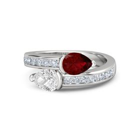 Pear White Sapphire Sterling Silver Ring with Ruby and Diamond
