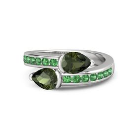Pear Green Tourmaline Sterling Silver Ring with Green Tourmaline and Emerald