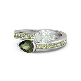 Pear Green Tourmaline Sterling Silver Ring with Green Amethyst and Peridot