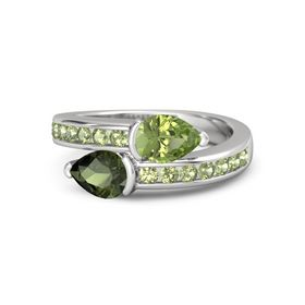 Pear Green Tourmaline Sterling Silver Ring with Peridot