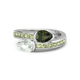 Pear Green Amethyst Sterling Silver Ring with Green Tourmaline and Peridot