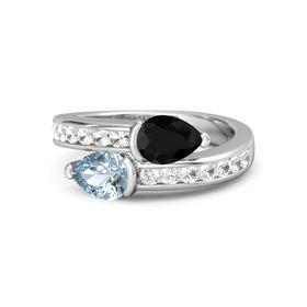 Pear Aquamarine Sterling Silver Ring with Black Onyx and Rock Crystal