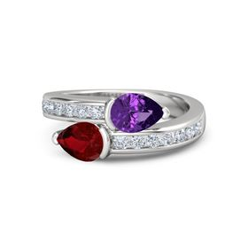 Pear Ruby Sterling Silver Ring with Amethyst and Diamond
