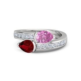 Pear Ruby Sterling Silver Ring with Pink Sapphire and Diamond