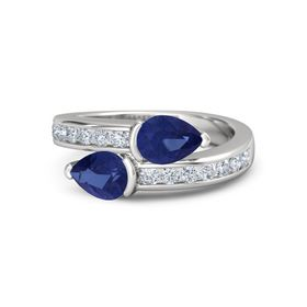 Pear Sapphire Sterling Silver Ring with Sapphire & Diamond