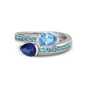 Pear Sapphire Sterling Silver Ring with Blue Topaz & London Blue Topaz