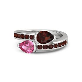 Pear Pink Tourmaline Sterling Silver Ring with Red Garnet
