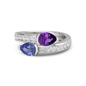 Pear Tanzanite Sterling Silver Ring with Amethyst and White Sapphire