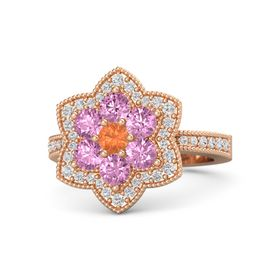 Round Fire Opal 14K Rose Gold Ring with Pink Sapphire and White Sapphire