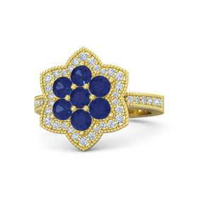 Round Blue Sapphire 14K Yellow Gold Ring with Blue Sapphire and Diamond