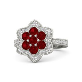 Round Ruby Palladium Ring with Ruby and White Sapphire