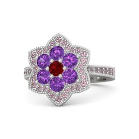 Round Ruby Sterling Silver Ring with Amethyst and Rhodolite Garnet