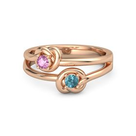 14K Rose Gold Ring with London Blue Topaz & Pink Sapphire