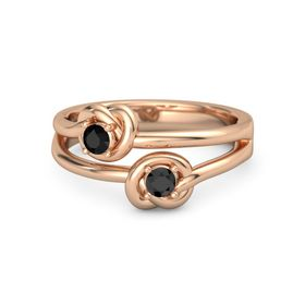 14K Rose Gold Ring with Black Diamond & Black Onyx