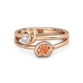 14K Rose Gold Ring with Fire Opal & White Sapphire
