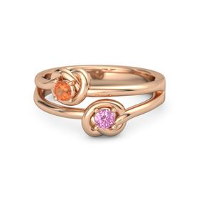 14K Rose Gold Ring with Pink Sapphire and Fire Opal