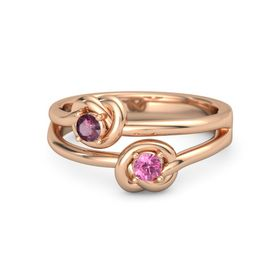 14K Rose Gold Ring with Pink Tourmaline and Rhodolite Garnet