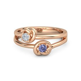 14K Rose Gold Ring with Tanzanite and Diamond