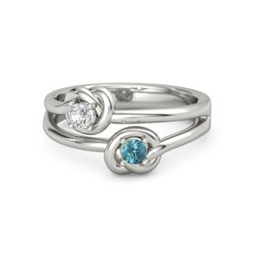 14K White Gold Ring with London Blue Topaz and White Sapphire