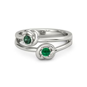 14K White Gold Ring with Emerald & Alexandrite
