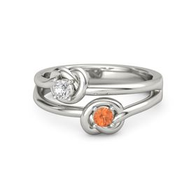 14K White Gold Ring with Fire Opal & White Sapphire