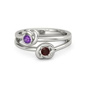 14K White Gold Ring with Red Garnet and Amethyst