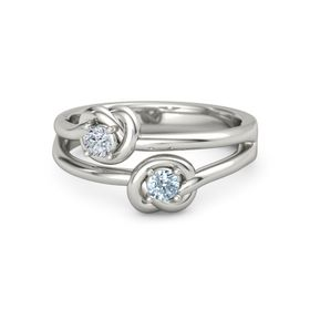 14K White Gold Ring with Aquamarine and Diamond