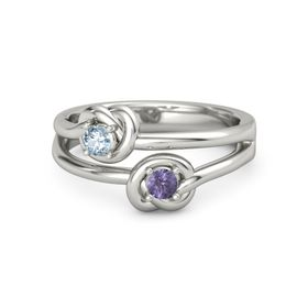 14K White Gold Ring with Iolite & Aquamarine