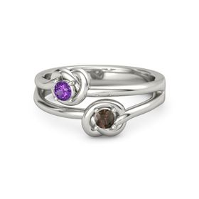 14K White Gold Ring with Smoky Quartz and Amethyst