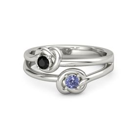 14K White Gold Ring with Tanzanite and Black Onyx