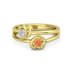 14K Yellow Gold Ring with Fire Opal & Diamond