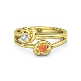14K Yellow Gold Ring with Fire Opal & White Sapphire